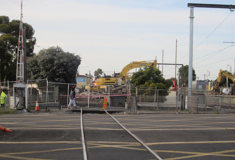 Ormond station being demolished, during level crossing removal works