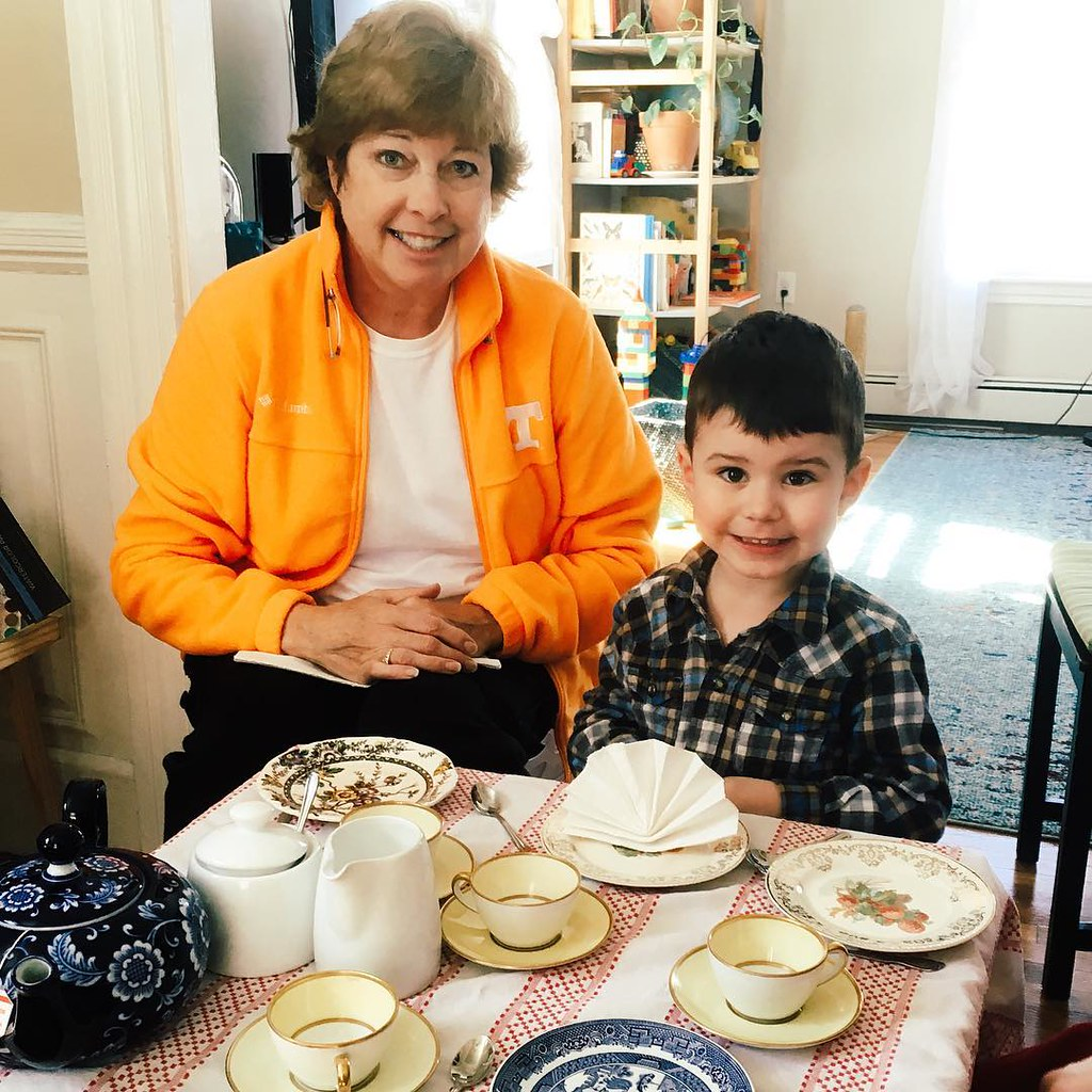 "Their ""Earnestly Requesting Tea, Please"" expressions. #teaparty #teatime #grandmother #grandson #instaluther"
