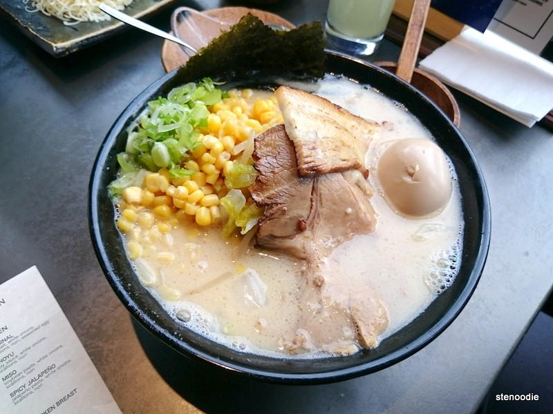 Pork Ramen, Thin Noodles, Pork Belly & Shoulder, Seasoned Egg, Sweet Corn