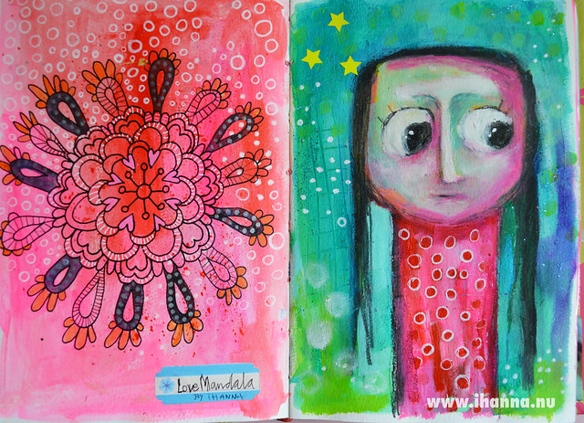 Art journal spread by iHanna: a love mandala and me @ihanna
