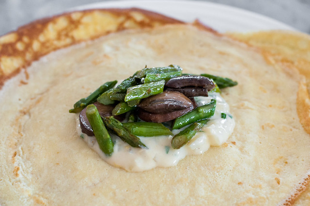 Homemade crepes are easier than you think! They're a classic, thin French pancake that's delicious made ahead and filled with creamy sauce and seasonal veggies.