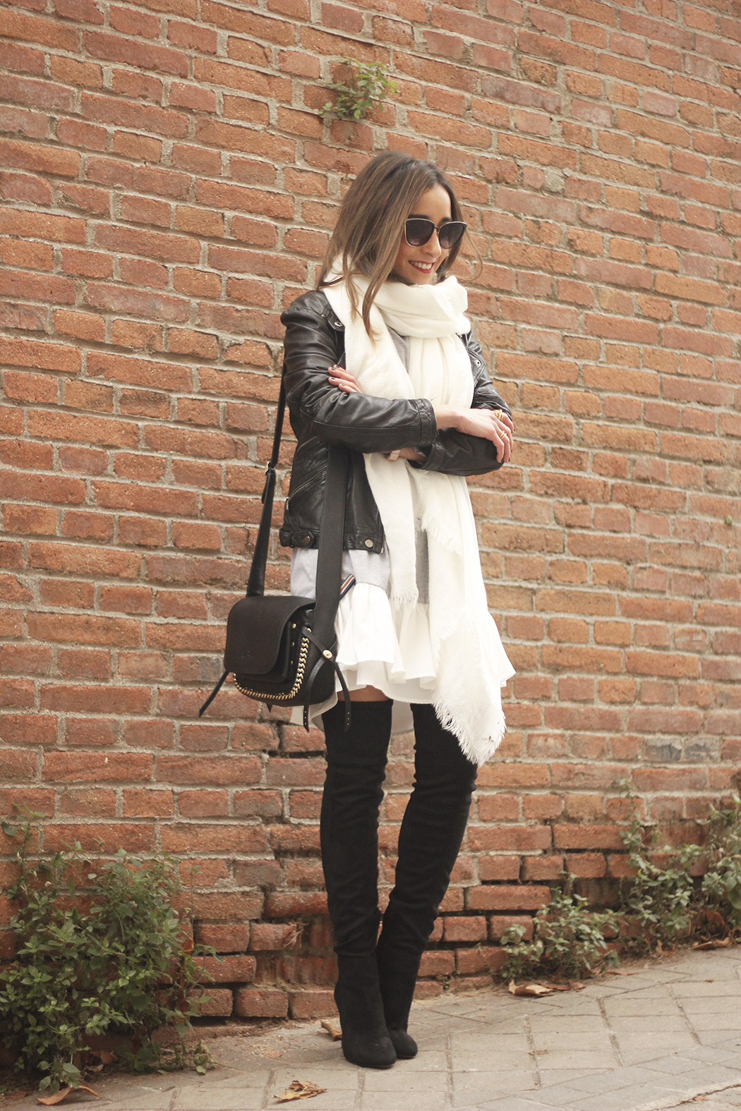 Leather Jacket gray dress over the knee boots style outfit fashion coach bag white scarf19