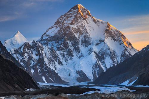 travel pakistan mountain horizontal sunrise landscape outdoors dawn asia glacier k2 karakoram kashmir pk scenics colorimage snowypeak chogori karakoramrange goroii indiansubcontinent gilgitbaltistan remoteposition chhogori centralkarakoramnationalpark