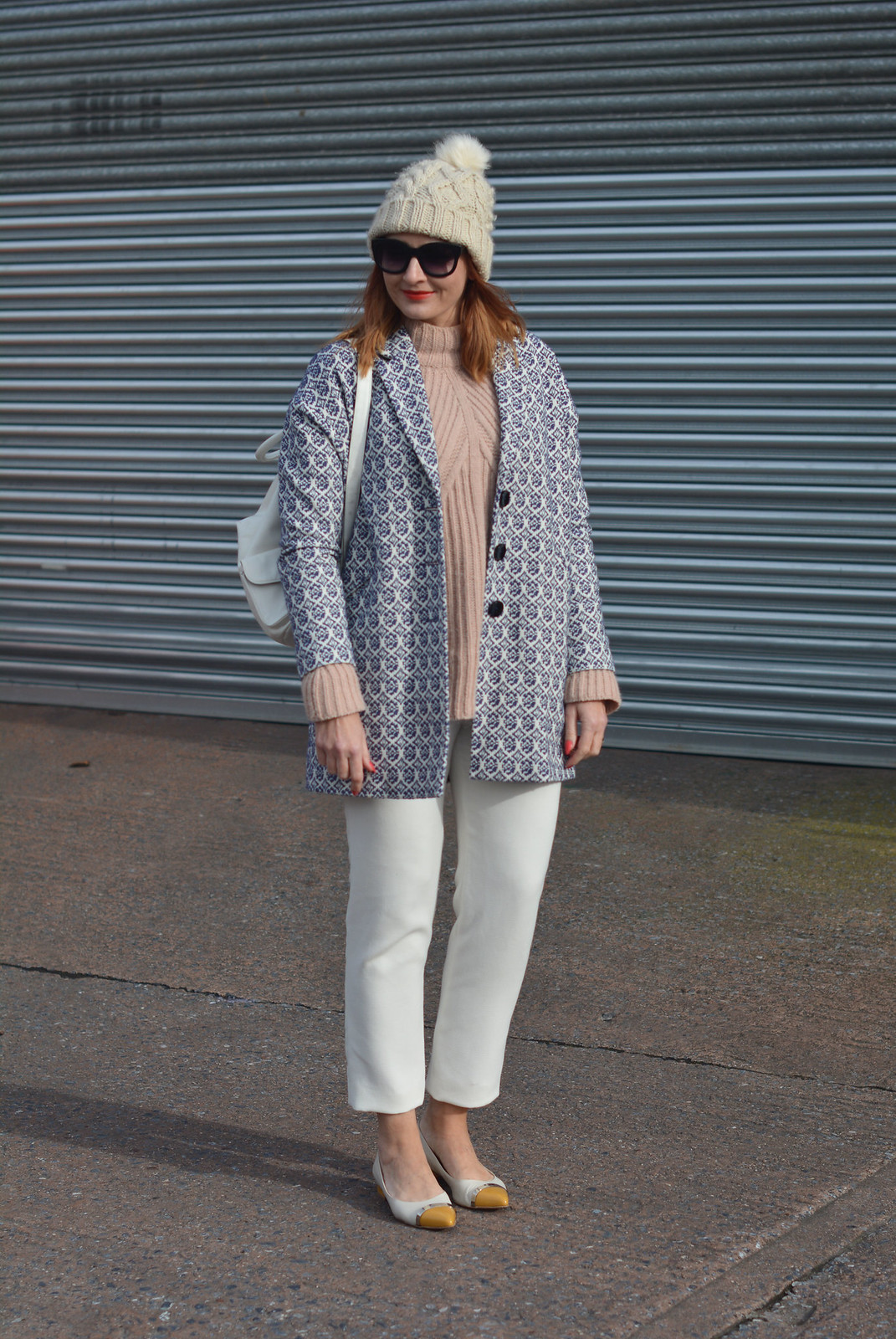 Blush pink, white and blue jaquard winter layers   Not Dressed As Lamb