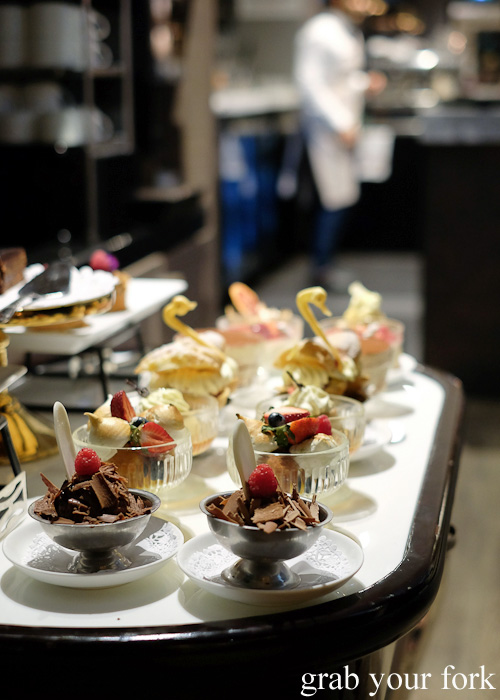 Dessert trolley at the Mayfair Hotel Mayflower Restaurant, Adelaide
