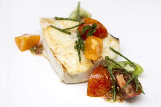 Halibut with heritage tomatoes and samphire © ROH Restaurants