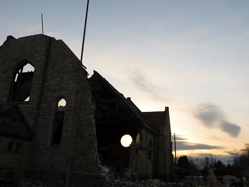 Silhouette of St. Agatha's Church During Demolition