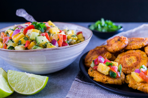 tostones with spicy mango salsa