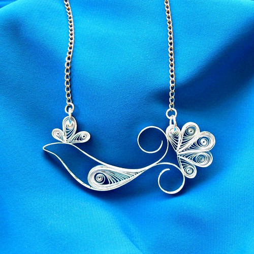 Quilled Bluebird of Happiness Necklace