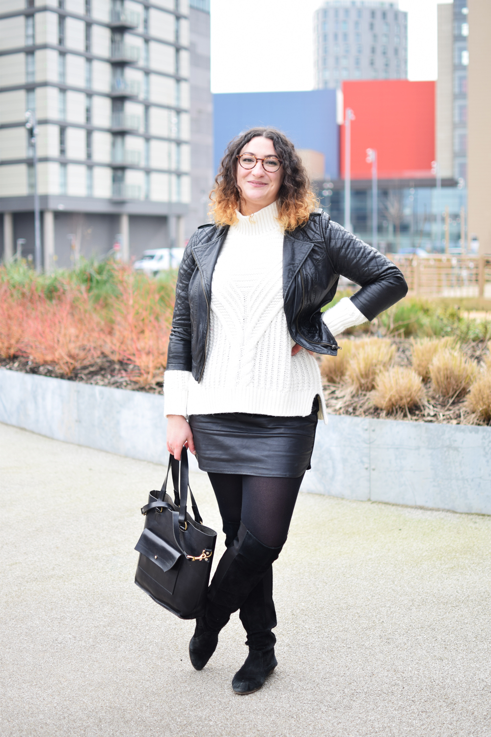 Scandi Wool jumper and leather skirt