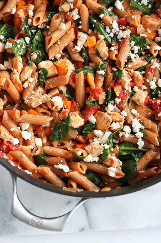 One-Pot Whole Wheat Pasta Recipe with Chicken & Spinach