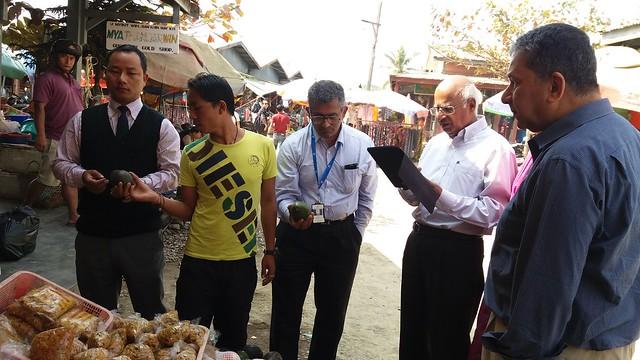 5.11th Feb_Mr. Ramadorai & Mr. Barthakur at the Tamu market in Myanmar
