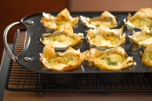 Dilled Smoked Salmon Quiches with Phyllo Crust