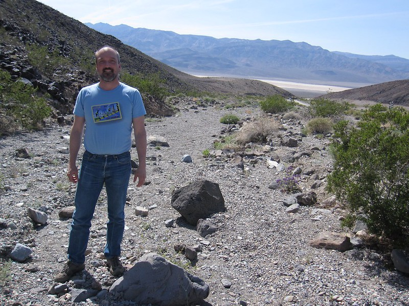 Jay in Death Valley landscape at Townes Pass