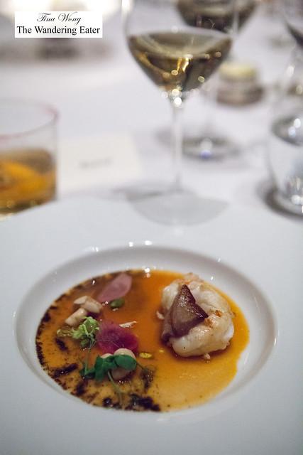 Langoustine, foie gras, pickled hon shimeji mushroom, seafood broth