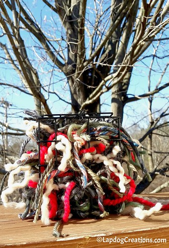 Make Your Own Bird Nesting Materials Holder with scrap yarn #DIY #birds #craftproject #LapdogCreations ©LapdogCreations