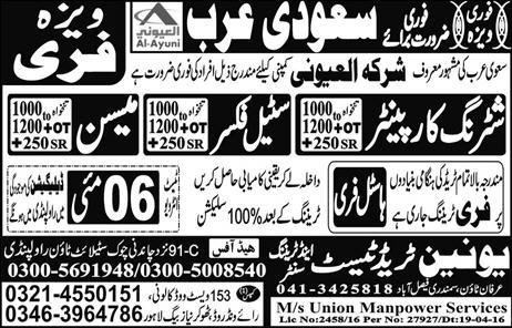 Sheltering Carpenter Steel Fixer and Meason Jobs 2016