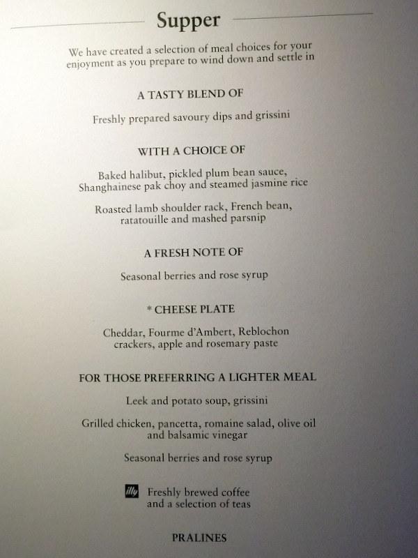 CX 777 300ER HKG to JNB- Supper menu