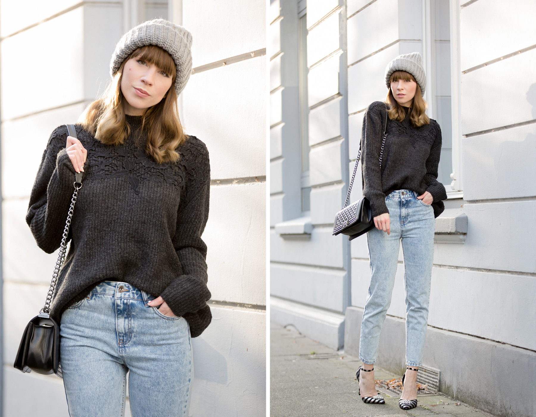ootd outfit styling mom jeans momjeans pull&bear grey knit knitwear lace chanel chanel boybag leboy asos striped high heels glamour look relax cozy winter düsseldorf cats & dogs blog ricarda schernus fashionblogger 2