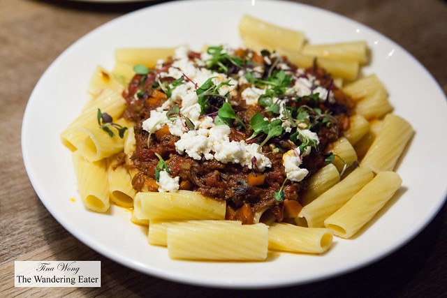 Short rib ragu rigatoni and housemade ricotta