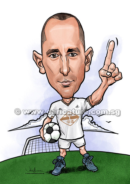 Ifor Evan soccer player digital caricature for PropertyGuru (watermarked)