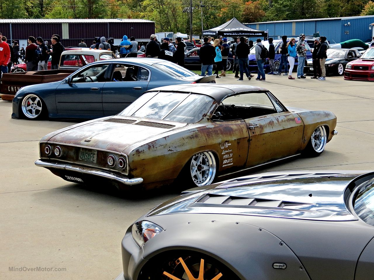 Slammed Chevrolet Corvair at First Class Fitment 3
