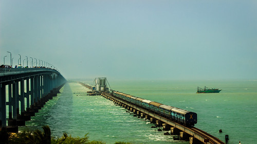 3 modes of Transportation -Pamban Bridge, Rameshwaram, India