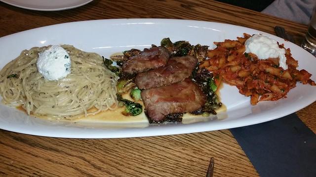 2016-Mar-23 Trattoria Burnaby - truffled spaghetti, veal saltimbocca, penne arrabiata