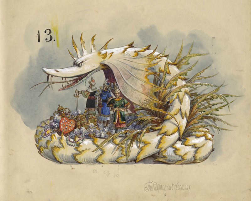 Bror Anders Wikstrom - The Dragon's Treasure, float design from Krewe of Proteus, 1898