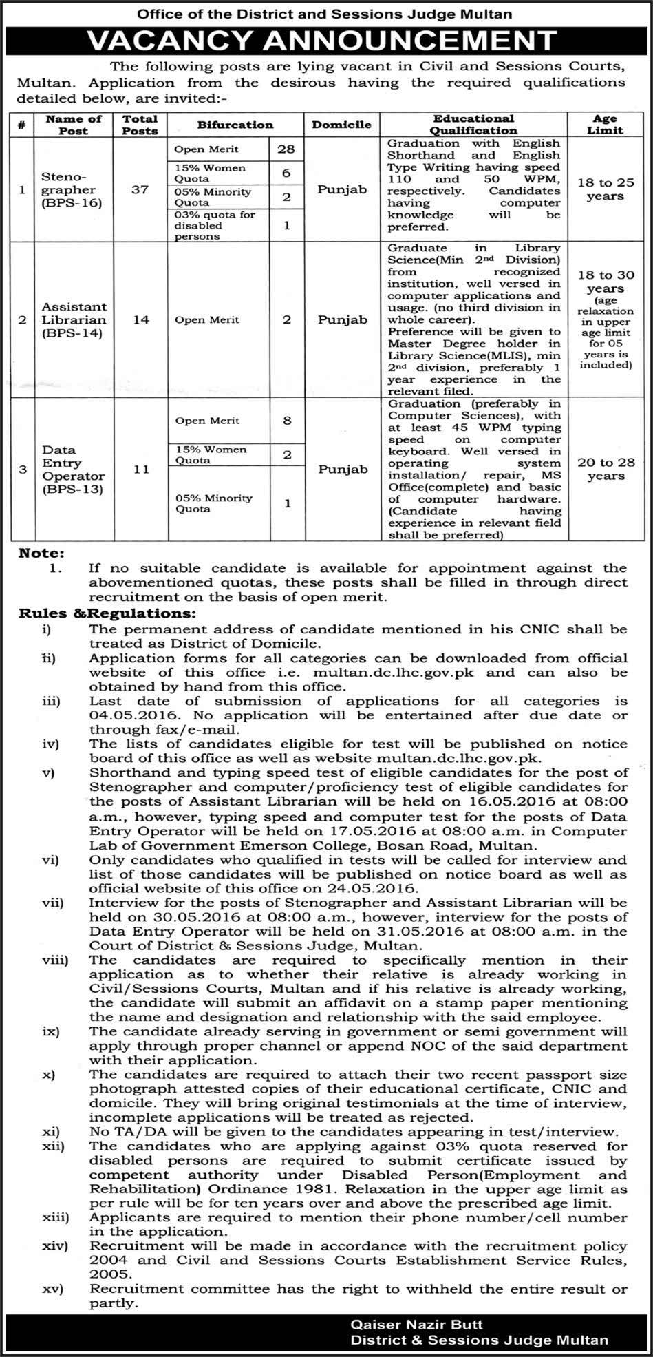 District Session Judge Office Multan Jobs 2016