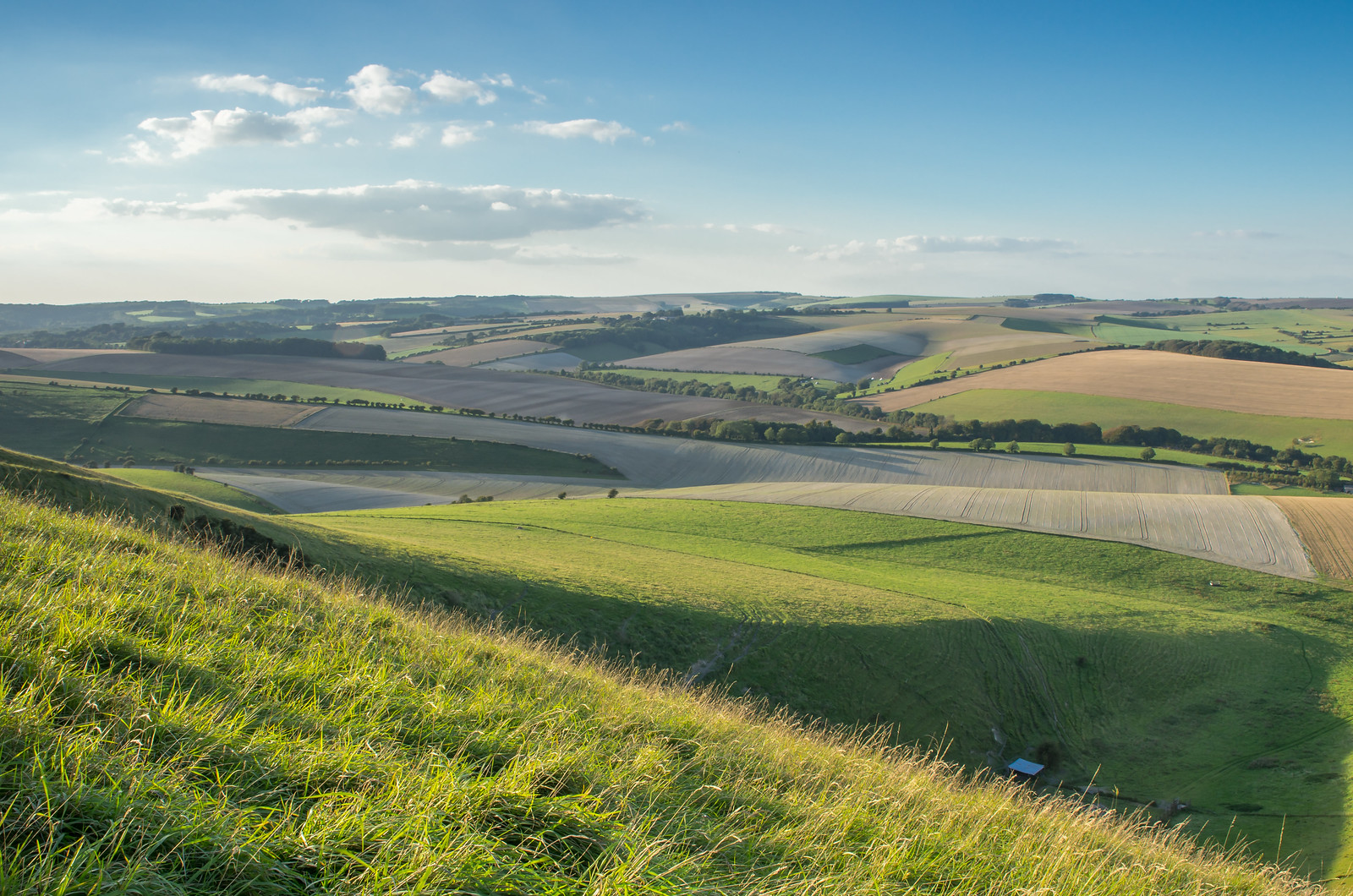 The South Downs Way Looking West. Kingston near Lewes. Late afternoon, first days of the last autumn.