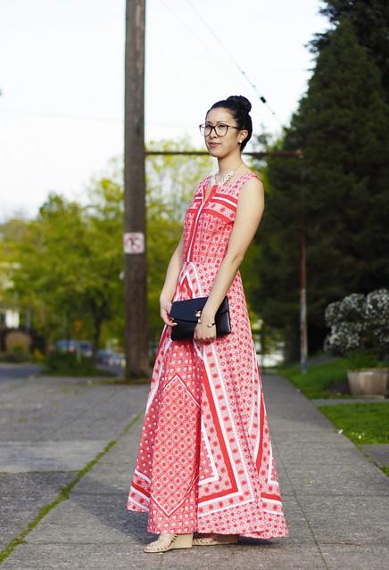 eShakti handkerchief dress with rocksbox statement necklace
