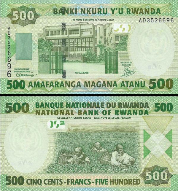 500 Francs Rwanda 2008, P34 UNC