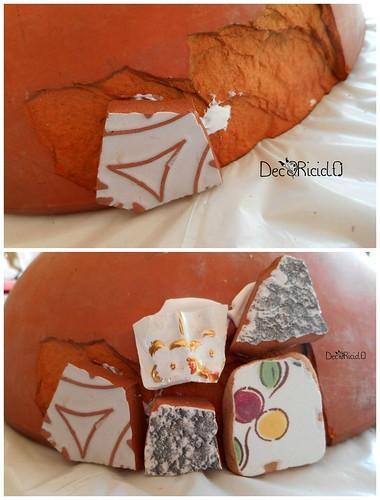 vaso terracotta con mosaico ricicloso 3
