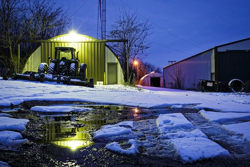 agriculture, McBaine, McBaine Missouri, tractor, water, puddle, light, barn, bocomo, Notley Hawkins, Notley, 10thavenue, reflection, reflexión, Reflexion, odraz, eftertanke, missouri, http://www.notleyhawkins.com/, Missouri, Photography, Notley Hawkins, Photography, Rural, Photography, Boone County Missouri, snow, wet, farm, rural, bucolic, blue hour, 2016, January, Winter, freeze