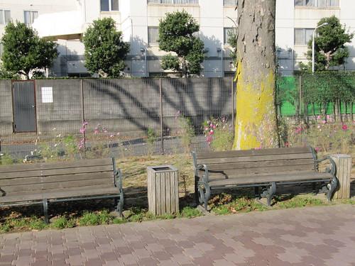 中山競馬場けやき公苑のベンチ