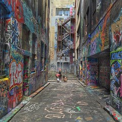 Scads of street art, layers of graffiti -- Hosier Lane / Rutledge Lane, Melbourne. Just a taste of some of the luscious street art and mixed media tucked in the lane ways of the downtown central business district.