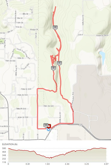Today's awesome walk, 4.07 miles in 1:26, 8,745 steps, 329ft gain