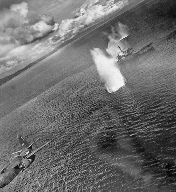 The 13th Bomb Squadron Strafes a Convoy