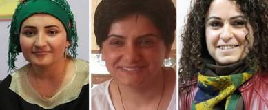 Sêvê DEMIR, membre de l'Assemblea Parlamentària pel Partit de les Regions Democràtiques (DBP); Pakize NAYIR, Copresidenta del Consell Popular en Silopi i Fatma UYAR, activista del Congrés de Dones Lliures