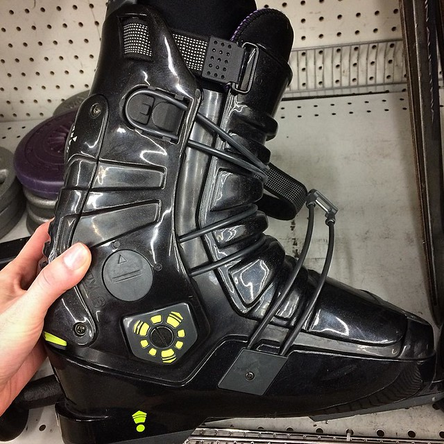 Scored Joshy a pair of ski boots at the thrift store for 29 bucks! Woo hoo!