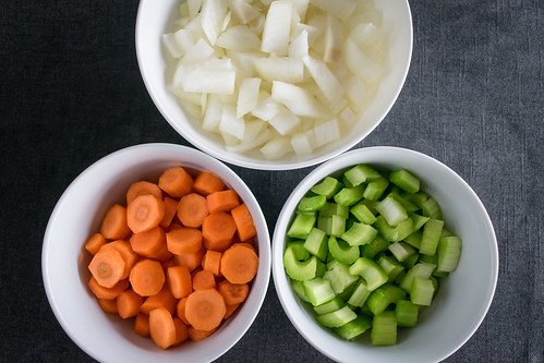 onion, carrot, and celery: the foundation of so many soups