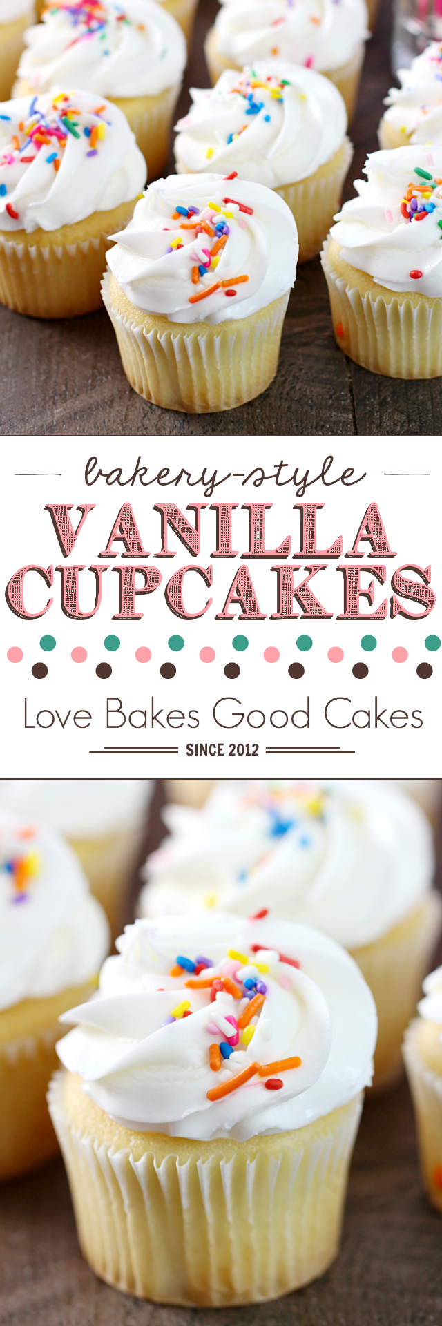 Bakery-Style Vanilla Cupcakes with white frosting and rainbow sprinkles collage.