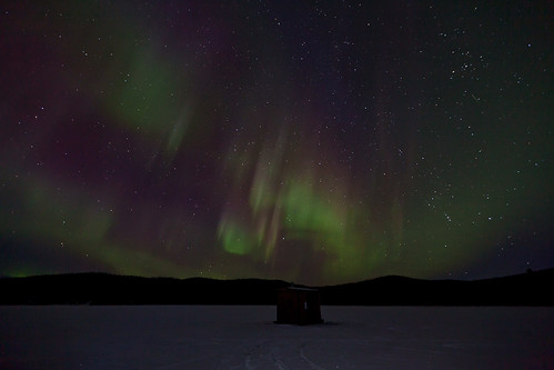 020216 - Aurora over an ice fishing hut at Quartz Lake