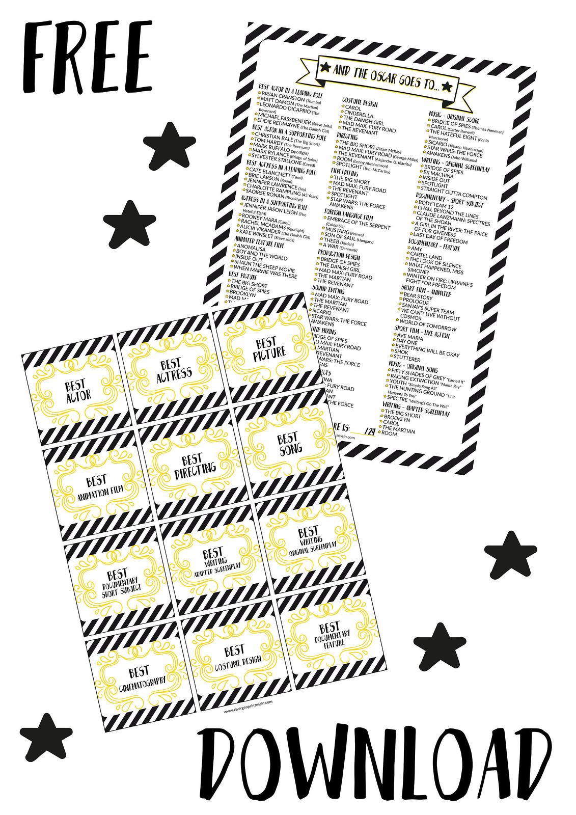oscar ballot 2016 - free printable