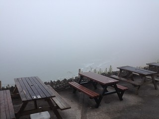 Misty views from The Worms Head pub, Gower Penninsula