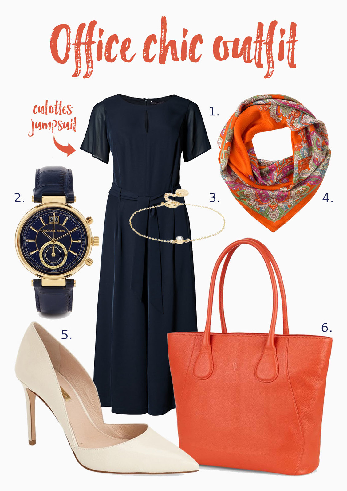 How to Style an Orange Tote Bag | Office chic outfit