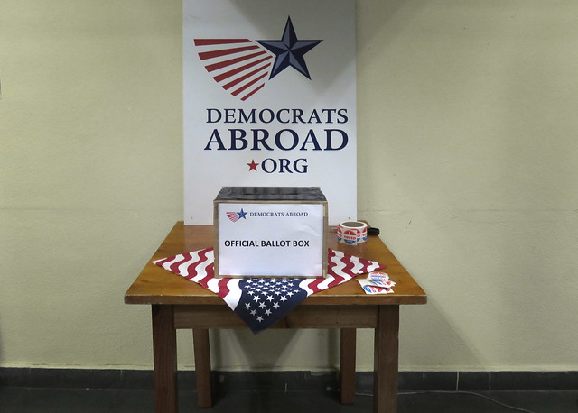Democrats Abroad polling station in Madrid (2016)