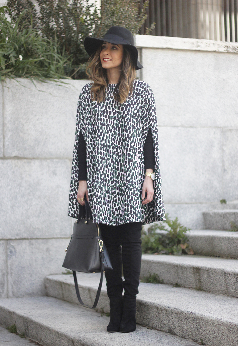 black and white outfit cape dress over the knee boots furla handbag style18