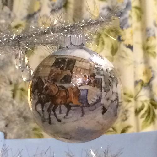 decoupage ornament / sleigh ride